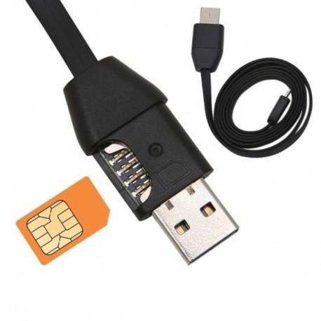 Câble USB GSM Mouchard Tracker position GPS et écoute audio à distance